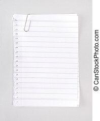 rayado, papel cuaderno, con, clip
