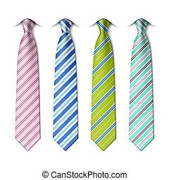 rayado, seda, corbatas
