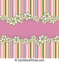 rayado, tarjeta de felicitación, con, flores