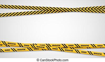 rayas, ribbons., amarillo, marco, cruz, prohibido, seguridad, cuarentena, precaución, cintas, obstrucción, advertencia, atención, plano de fondo, vector, horizontal, virus, área, bandera, peligroso, zona