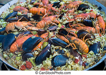 rayfish, mejillones, mariscos, gambas, paella, español