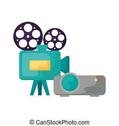 rayo, cámara, vídeo, cine