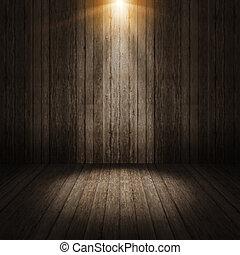 rayo, luz, en, pared