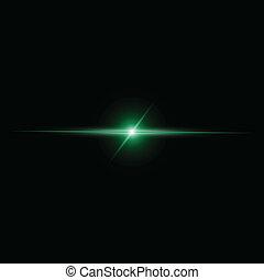 rayo, resumen, vector, luz verde
