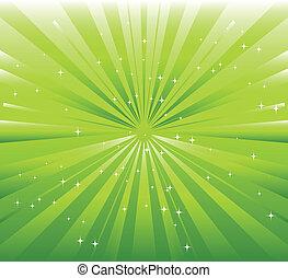 rayon, fond, vert, étoile