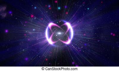 rayon léger, pouls, atome, étoile, 4k