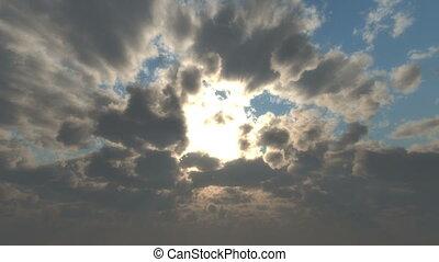 rayon soleil, nuages, coucher soleil, 4k