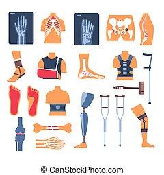 rayon x, orthopédique, os, fracture, outils, béquilles,...