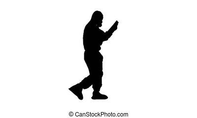 rayon x, protecteur, regarder, silhouette, docteur, complet, marche., poumons, quoique