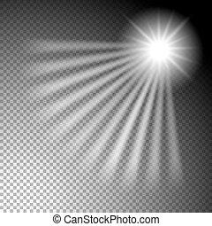 rayons, étoile, isolé, élément, incandescent, conception, fond, transparent