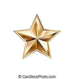 rayons, étoile, or, main, élégant, cinq, élément, dessin