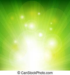 rayons, arrière-plan vert