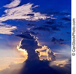 rayons, atmosphérique, lumière, nuages, /, autre, coucher...