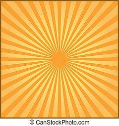 rayons, carnaval, illustration, arrière-plan., vecteur, orange