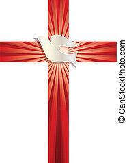 rayons, chrétien, colombe, symbole., croix, vecteur, fond, lumineux, religieux, rouges