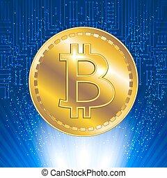 rayons, circuit, symbole, bitcoin, virtuel, incandescent, fond, monnaie, électronique