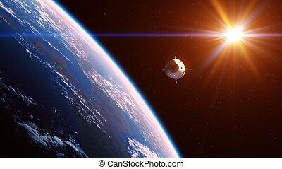 rayons, commercial, vaisseau spatial, soleil, rouges