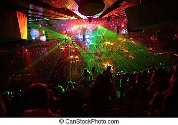 rayons, dans, salle concert