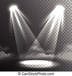 rayons, deux, lumières, rencontrer, blanc, bannière