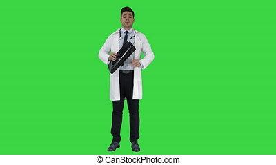 rayons, docteur, chroma, résultats, écran, appareil photo, vert, key., dire, x