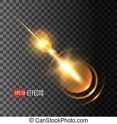rayons, effet lumière, lentille, incandescent, flamme