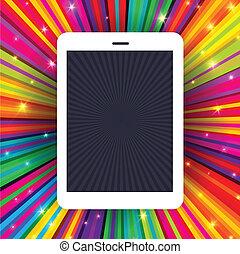 rayons, eps10, tablette, coloré, illustration, arrière-plan., vecteur, appareil, conceptuel