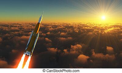 rayons, espace, lancement, système, américain, levers de soleil