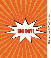 rayons, explosion, éclater, texte, jaune, vecteur, fond, boom!, orange, étoile, bulle, dessin animé