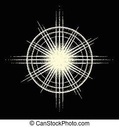 rayons, explosion, étoile, dotwork, vendange, sunburst, ou