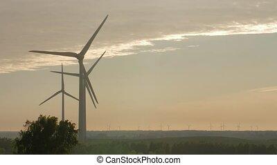 rayons, ferme, lumière, coucher soleil, turbine, vent