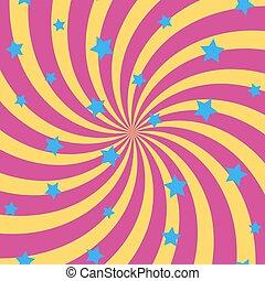 rayons, fond, soleil, résumé, spirale, stars., vector.