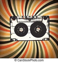 rayons, grunge, illustration, arrière-plan., cassette, musique, audio