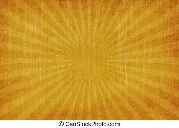 rayons, grunge, vendange, résumé, fond jaune, soleil
