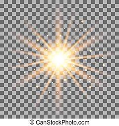 rayons, illustration., lumière or, isolé, effet, arrière-plan., vecteur, transparent
