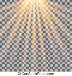 rayons, illustration., soleil, arrière-plan., vecteur, sunlight., transparent