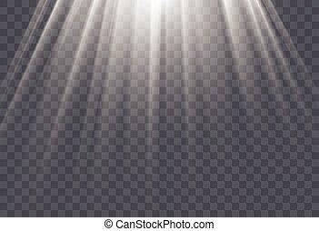 rayons, illustration., soleil, effet, arrière-plan., vecteur, lumière, blanc, transparent, lueur