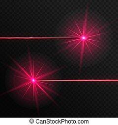 rayons, laser, deux, rouges