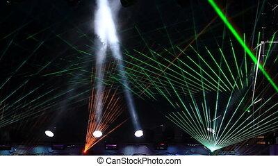 rayons, laser, projecteur