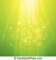 rayons, light., brouillé, bokeh, vecteur, arrière-plan vert