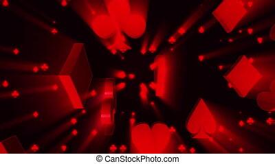rayons, lumière, procès, faire boucle, arrière-plan noir, jeux & paris, animé, carte