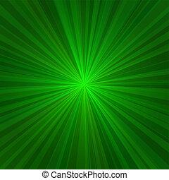 rayons, lumière, résumé, arrière-plan., vecteur, vert