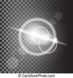 rayons, magie, effet lumière, isolé, arrière-plan., vecteur, blanc, transparent, lueur