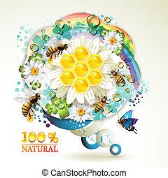 rayons miel, abeilles