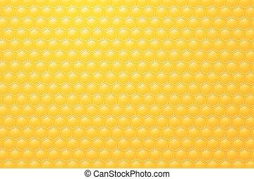 rayons miel, fond jaune, abeille