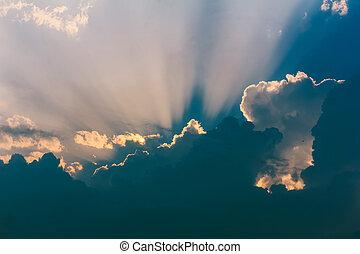 rayons, nuages, soleil, rupture, ciel, par, orage, paysage