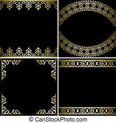 rayons, or, -, arrière-plans, vecteur, noir, décorations, vendange, cartes