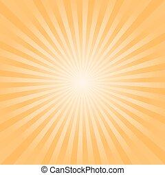 rayons, résumé, arrière-plan., clair, vecteur, orange