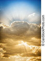 rayons soleil, dramatique, nuage