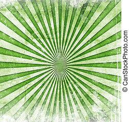 rayons soleil, grunge, vert