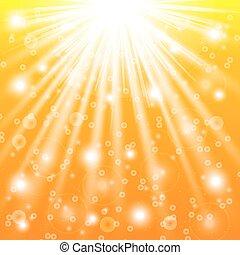 rayons, soleil, illustration, effects., vecteur, lumière